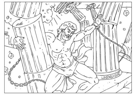 samson crushing the pillars bible coloring page http www