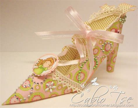 3d paper shoe template altered 3d magnolia tilda on the high heel not a
