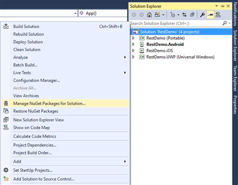 Xamarin Parse Tutorial | go to solution explorer and right click on your solution
