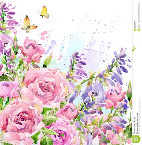 floral garden flowers watercolor garden flower watercolor illustration