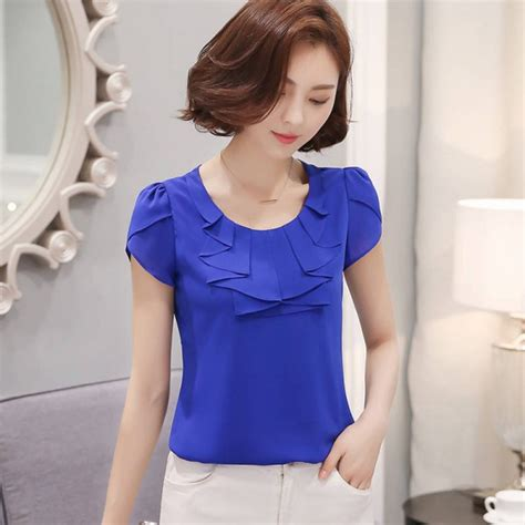 Office Shirts Blouses Elegant Chiffon Short Sleeve Cool ... M 58 59 Pink