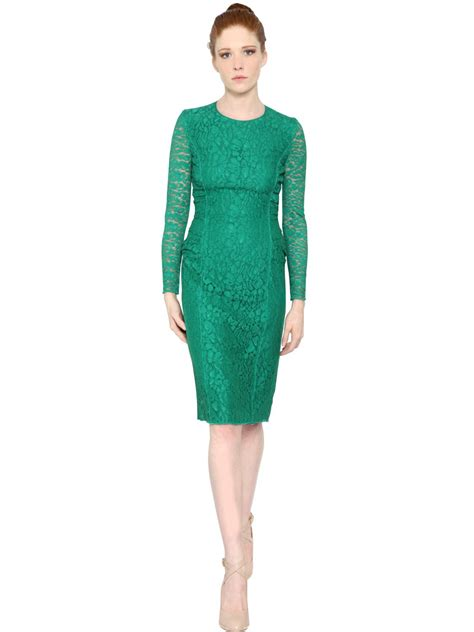 Lace Dress Green ricci sleeve lace dress in green lyst
