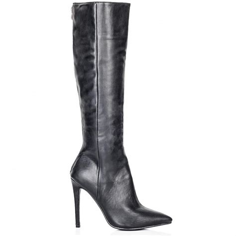 buy heeled pointed toe knee high boots black leather