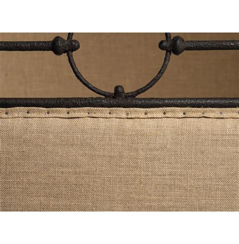 rustic king bed frame alaric burlap antique iron industrial rustic king bed frame kathy kuo home