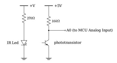 resistor for ir led infrared understanding voltage and current of a phototransistor w collector resistor