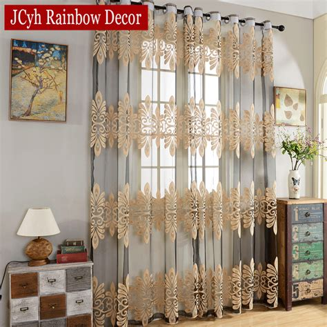 Fabric Kitchen Curtains Decor Luxury Tulle Curtains For Living Room Bedroom Ready Made Sheer Curtains For Window Kitchen Door
