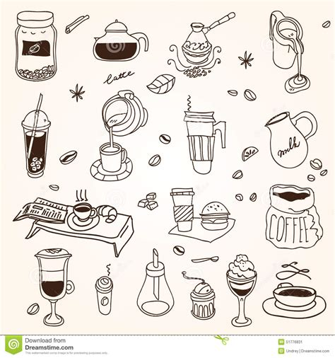 Hand Drawn Sketch Doodle Vintage Simple Coffee Stock Vector   Image: 51776831