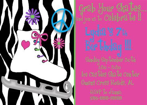 skating invitations templates roller skating birthday invitation 226 invitation card