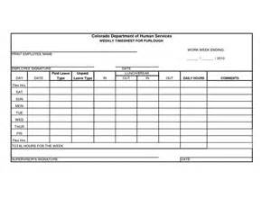 free printable time sheets forms furlough weekly time