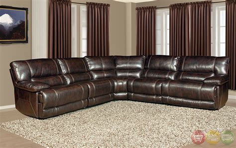 brown reclining sectional parker living pegasus dark brown faux leather power