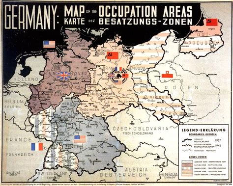 germany 1945 map occupation areas of germany after 1945 map germany mappery