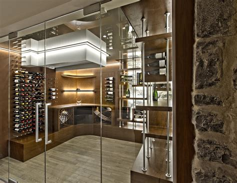 Home Interior Shelves glass enclosed wine cellars stact wine racks