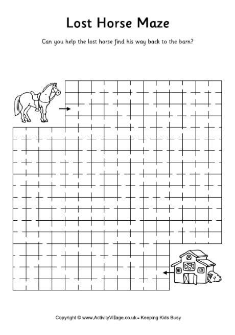 printable horse maze 134 best coloring and worksheets images on pinterest