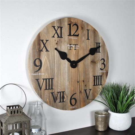 analog wall clock numerals analog wall clock rustic barn wood large numbers