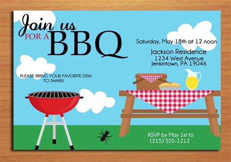 summer picnic customized printable bbq by