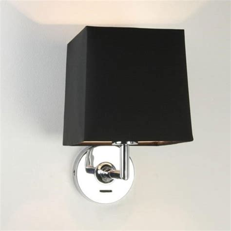 hotel guest bedroom wall light simple switched modern switched chrome wall light with square black fabric shade