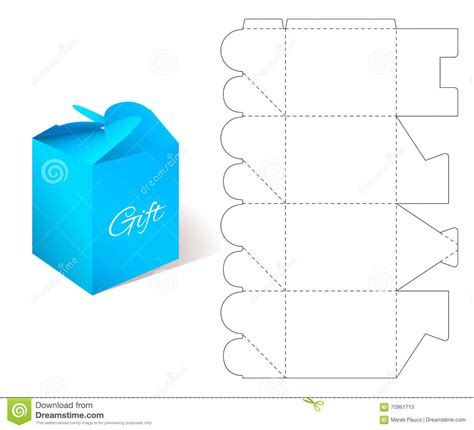 blueprint template gift paper box with blueprint template stock vector