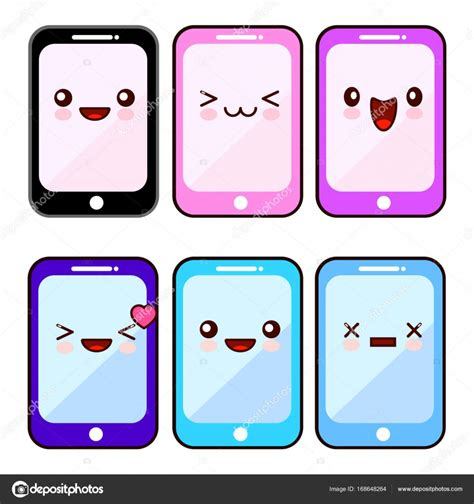 imagenes kawaii para celular tel 233 fono inteligente feliz conjunto kawaii dibujos