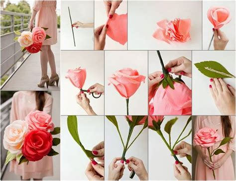 How To Make Crepe Paper Roses - diy paper flower tutorial step by step