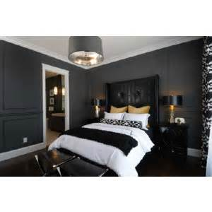 Bedrooms charcoal gray walls tall black leather tufted