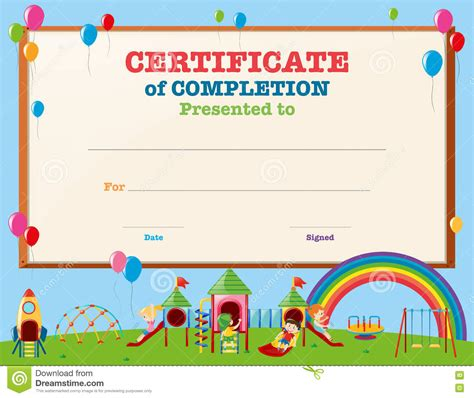 children s certificate template certificate template with in playground stock vector