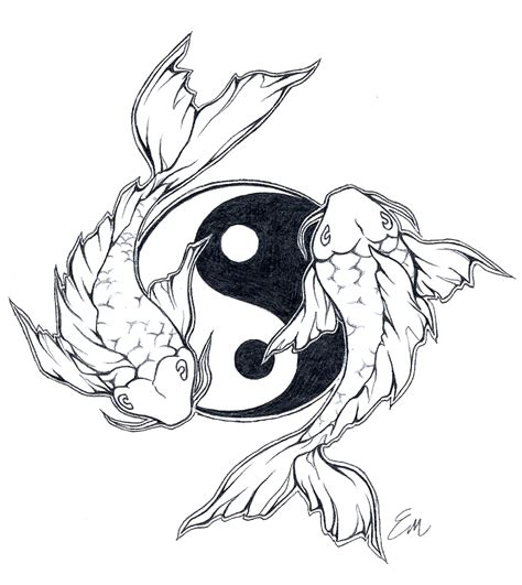 ying yang in koi fish style dejavu tattoo studio yinyang koi fish tattoo design by les belles soeurs