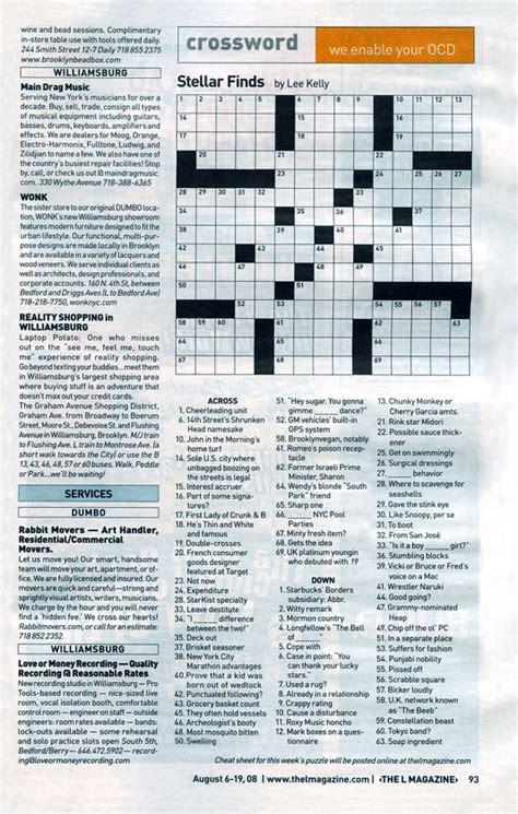 free printable star magazine crossword puzzles crossword puzzle authoring l magazine by nyc