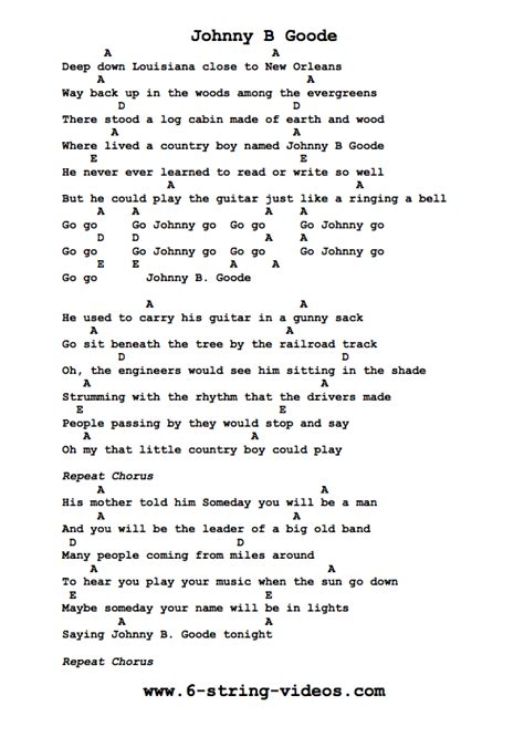 guitar tutorial johnny b goode guitar tabs tabs and song sheet for johnny b goode
