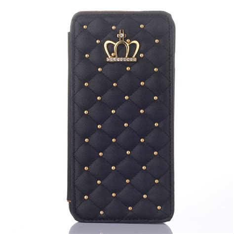 Leather Crown Iphone 6 6s luxury bling crown metal flip leather cover