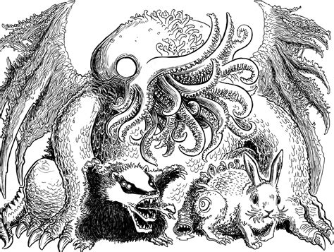 H P Lovecraft Sketches by Lovecraft Sketch Mwf Cthulhu And Pets Mockman