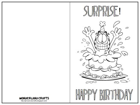printable birthday card outline wonderland crafts birthday
