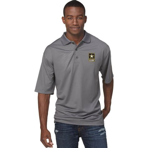 Polo Grey Army duke performance polo with embroidered army insignia gray