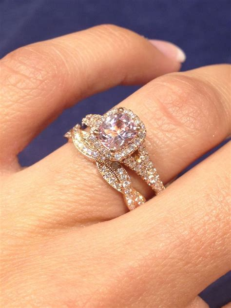 gold engagement ring with twist wedding band