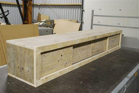 steigerhouten tafel 4 meter tv meubel van steigerhout op maat gemaakt