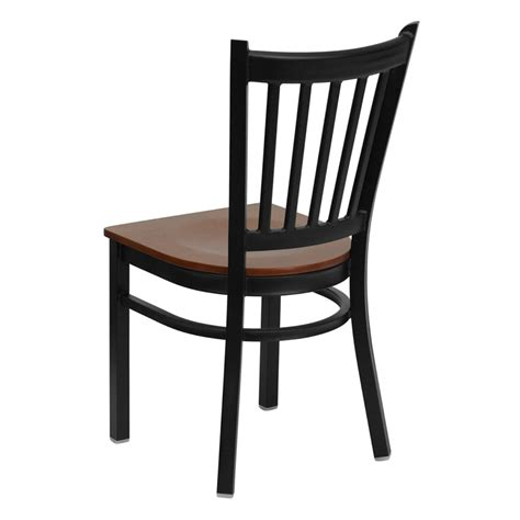 Cherry Wood Chairs by Hercules Black Vertical Back Metal Restaurant Chair With