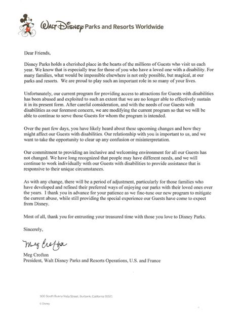 Official Vacation Letter disneyland disappointment for my special needs kid