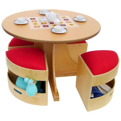 Circular Dining Table 4 Storage Stools by 12 Best Childrens Table And Chair Sets Images On