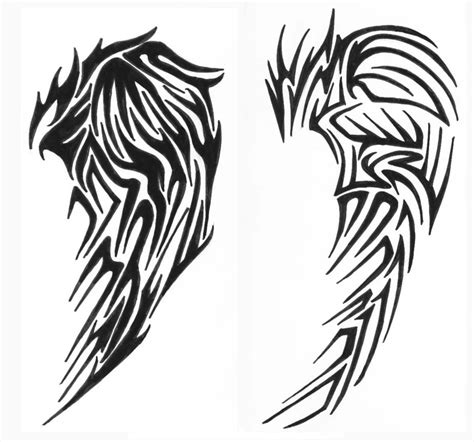 tribal angel wing tattoos tribal wings drawing clipart best