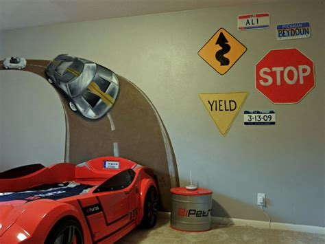 race track wall mural boys car themed room