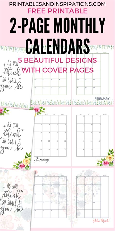 monthly calendar  page spread  printable
