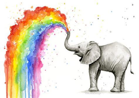 elephant nursery elephant baby elephant spraying rainbow watercolor painting print