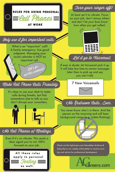 Rules for Using Personal Cell Phones at Work   Infographic