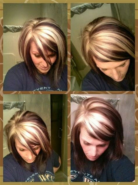 chunking or highlighting short brown hairstyle 17 best ideas about chunky highlights on pinterest