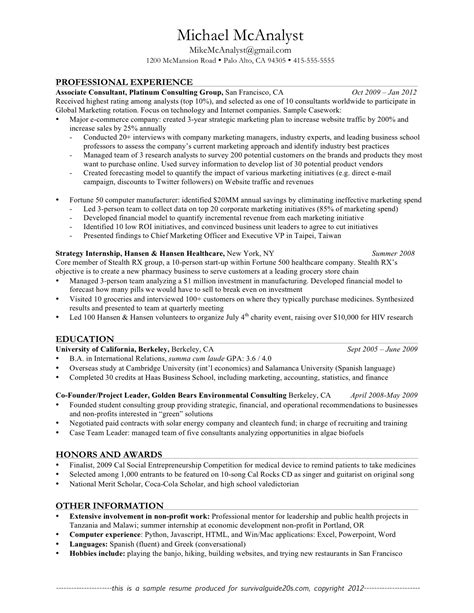 Resume Writing Exles by Resume Professional Experience Exles 28 Images