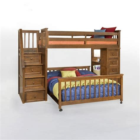 simply bunk beds school house stair loft with chest end pecan www