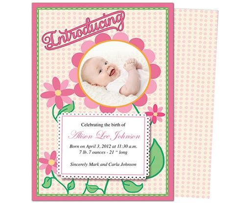 free baby announcement templates birth announcements template daisy baby birth