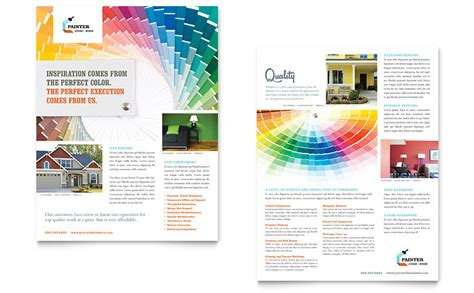 House Painting Contractor Datasheet Template Word Publisher Free Publisher Design Templates