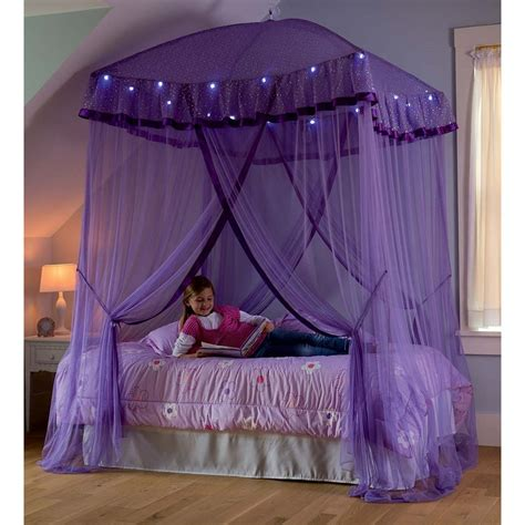 Purple Bed Canopy Purple Lighted Bed Canopy Sparkling Led Lights Princess Bedroom Ebay