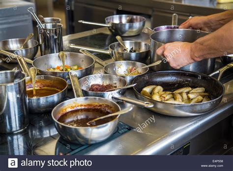 Restaurant Kitchen Pans by Kitchen Of A Restaurant Cooking Pans And Pots On An