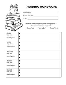 homework reading log template student reading homework log clipart borders
